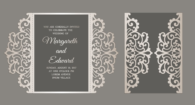 Gate fold laser cut wedding invitation. template for laser cutting.
