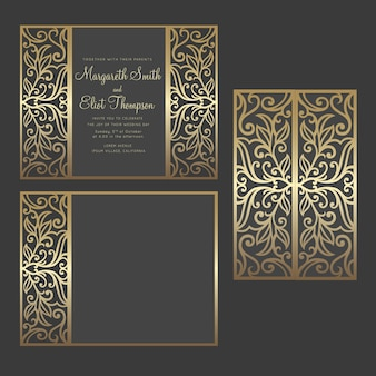 Gate fold laser cut wedding invitation vector design. cut out template for laser cutting machines.
