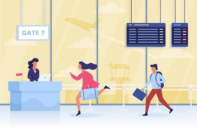 Ворота в аэропорту. люди с багажом ходят