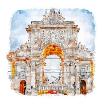 The gate to lisbon watercolor sketch hand drawn illustration