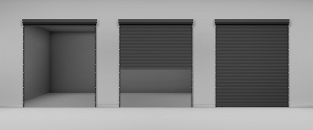 Gate with black rolling shutter in gray wall