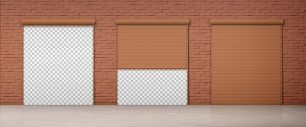 Gate with brown rolling shutter in brick wall