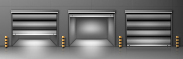 Gate with metal rolling shutter in gray wall. vector realistic illustration of hallway