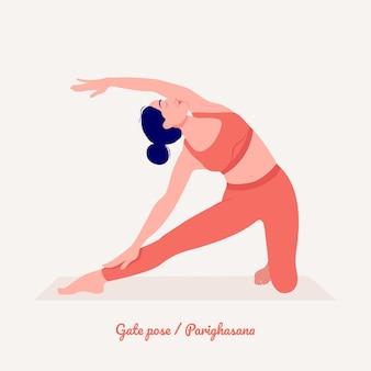 ゲートヨガポーズヨガの練習をしている若い女性