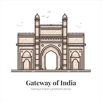인도의 관문 건물 인도의 유명한 상징적인 랜드마크 만화 라인 아트 그림