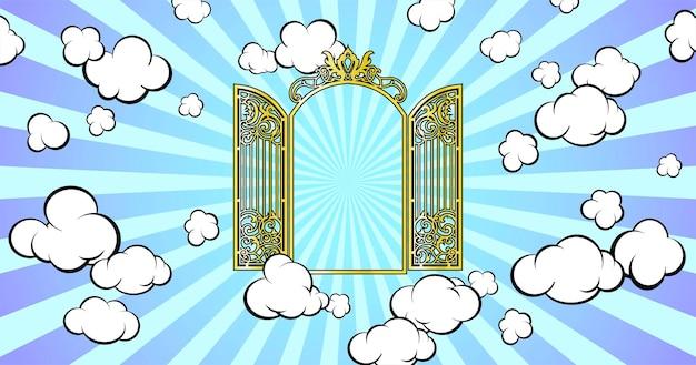 パラダイスへの玄関口。空に輝いています。漫画のスタイル。ベクトルイラスト。