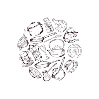 Gathered hand drawn kitchen utensils in circle illustration isolated on white