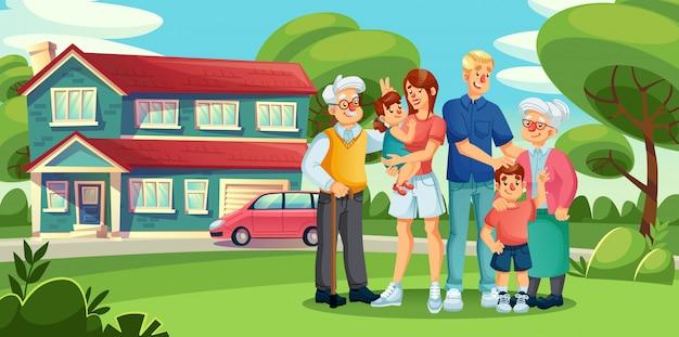 Сбор большой семьи, стоящей во дворе пригородного дома