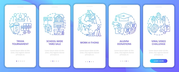 Gathering financial support ideas onboarding mobile app page screen. trivia nights walkthrough 5 steps graphic instructions with concepts. ui, ux, gui vector template with linear color illustrations