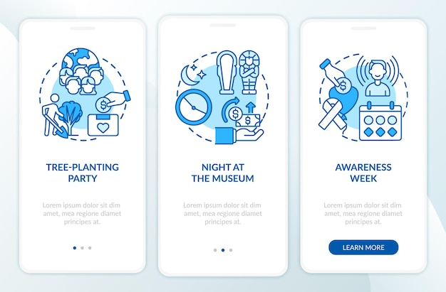 Gathering money campaign ideas onboarding mobile app page screen. night at museum walkthrough 3 steps graphic instructions with concepts. ui, ux, gui vector template with linear color illustrations