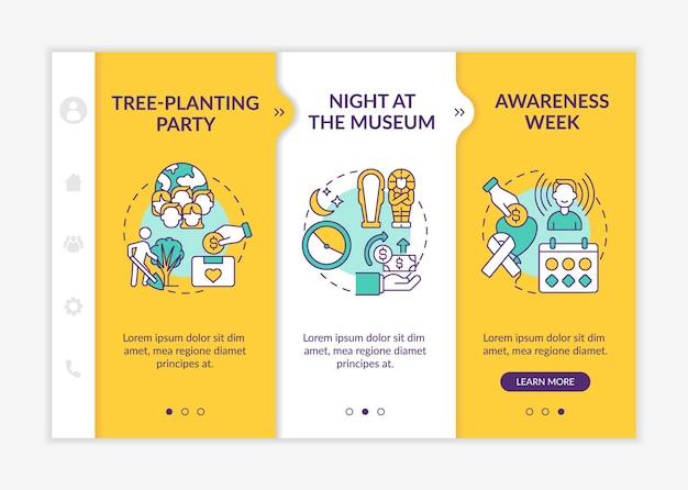 Сбор идей кампании денег онбординг вектор шаблон. адаптивный мобильный сайт с иконками. веб-страница прохождение 3-х шаговых экранов. ночь в музее цветовая концепция с линейными иллюстрациями
