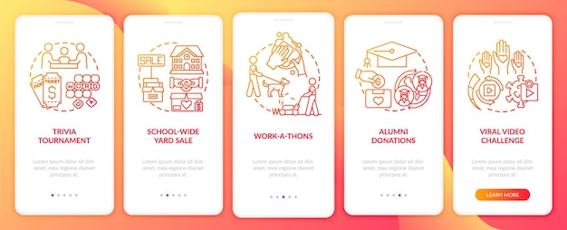 Gathering money events onboarding mobile app page screen