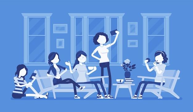 암탉 파티 또는 재미를 위해 여성 모임