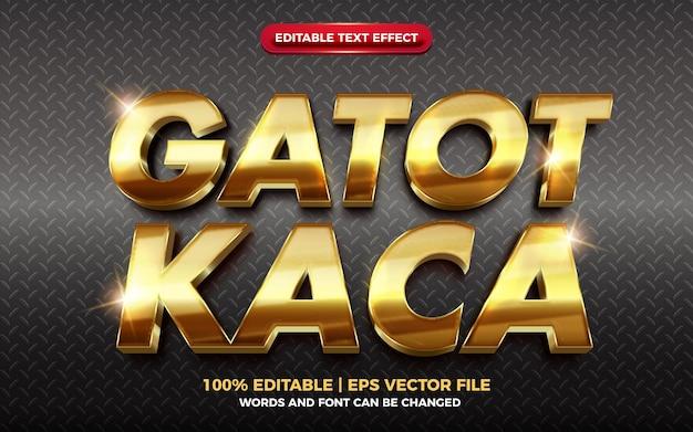 Гатот кака золотой глянцевый редактируемый текстовый эффект