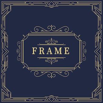 Gatsby style frame in art deco, retro style