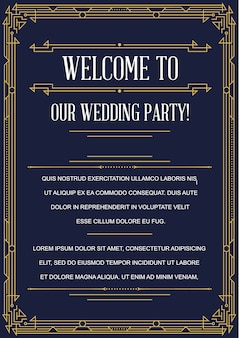 Gatsby style invitation in art deco or nouveau epoch 1920's gangster era