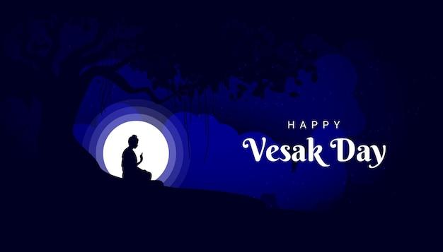 Gautam buddha meditating under the banyan tree on vesak day in the night