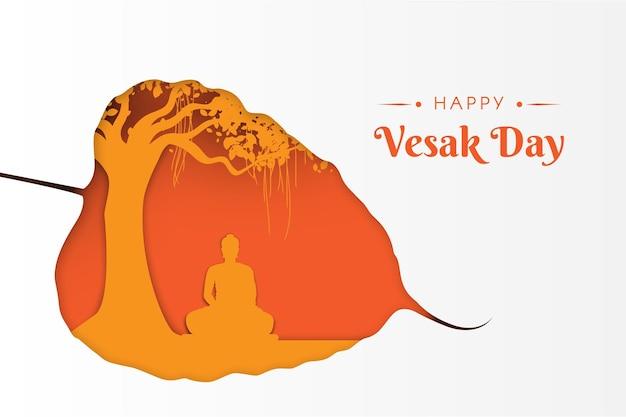 Gautam buddha meditating under the banyan tree on vesak day paper style