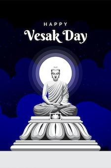 Gautam buddha meditating statue on vesak day in the night