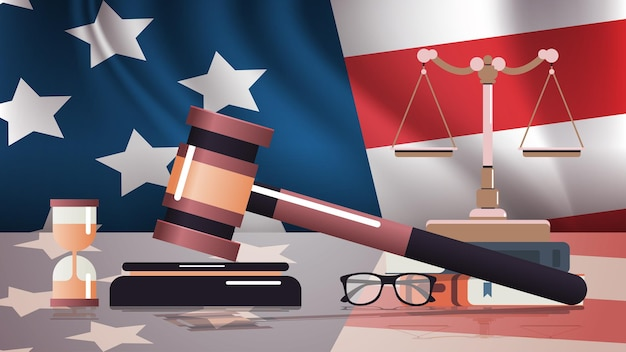 Gavel and judge book on usa flag american presidential inauguration day celebration concept greeting card view horizontal vector illustration