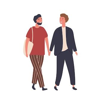 同性愛者のカップルのフラットイラスト。同性愛者の男性のペア、恋に若い男の子