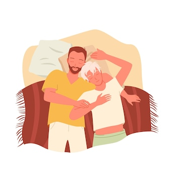 게이 커플 사람들은 밤에 함께 자고 행복한 동성애 연인 캐릭터는 자고 있다
