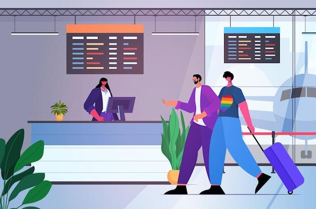 Lgbtトランスジェンダーの愛の概念をチェックするために空港のカウンターに立っているゲイの乗客