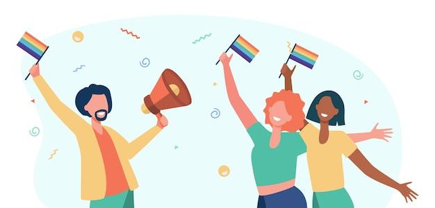プライドを祝うゲイの人々。虹色の旗とスピーカーを持って幸せな男と女。漫画イラスト