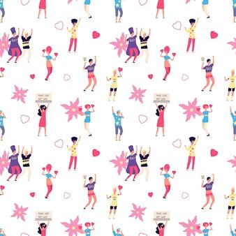 게이 프라이드. 무지개 하트와 꽃 lgbt 원활한 패턴