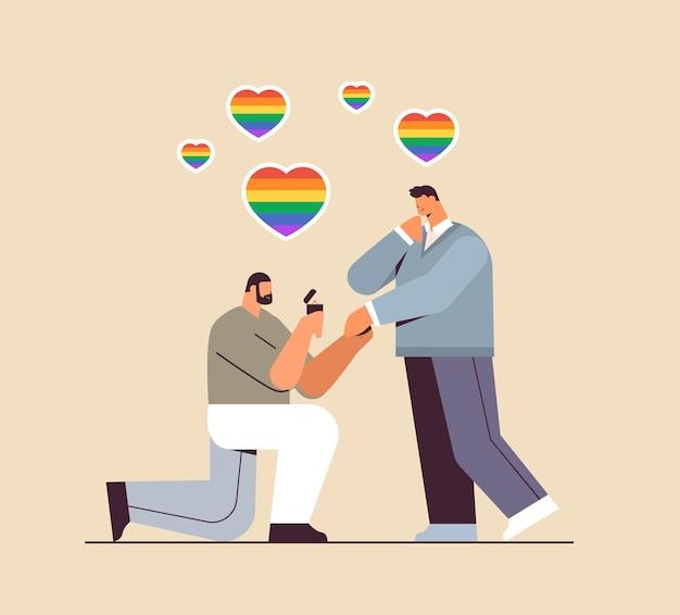 약혼 반지 트랜스젠더 사랑 lgbt 커뮤니티 개념으로 무릎을 꿇고 남자에게 제안하는 게이