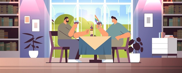 게이 커플 마시는 와인 함께 시간을 보내는 두 남자 트랜스 젠더 사랑 lgbt 커뮤니티 개념 카페 인테리어 수평 전체 길이 벡터 일러스트 레이 션