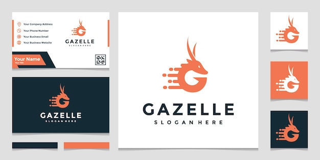 Gazelle logo template with business card
