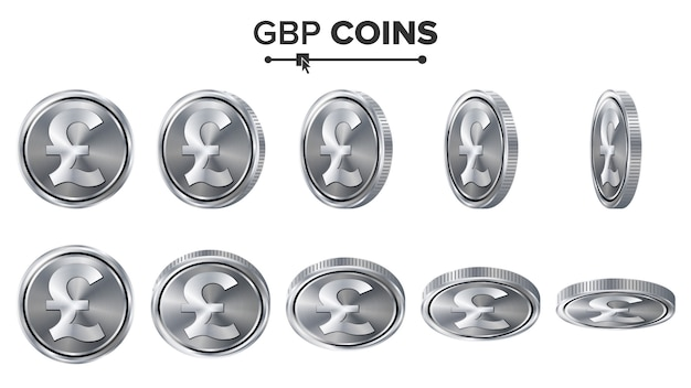 Gbp 3d silver coins set