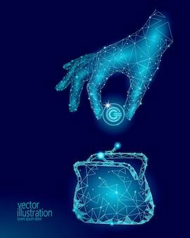 Низкополигональная рука кладет кошелек для криптовалюты gcc. будущая электронная коммерция