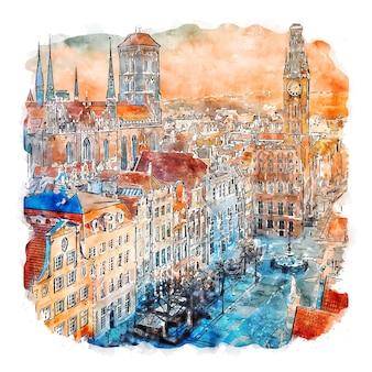 Гданьск польша акварельный эскиз рисованной иллюстрации