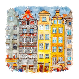 Гданьск польша акварельный эскиз рисованной