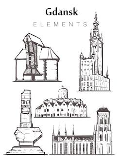 Гданьск набор эскизных зданий, изолированные на белом фоне