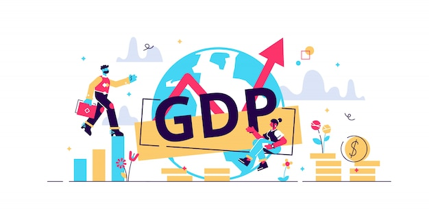 Gdp illustration.flat tiny persons concept with gross domestic product per capita.businessman with ascending economical data arrow.national earning profit measurement and index.financial value.