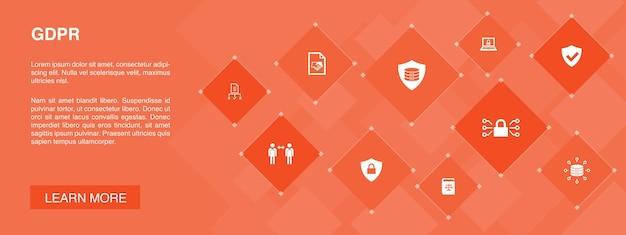Gdprバナー10アイコンconcept.data、e-プライバシー、合意、保護シンプルアイコン