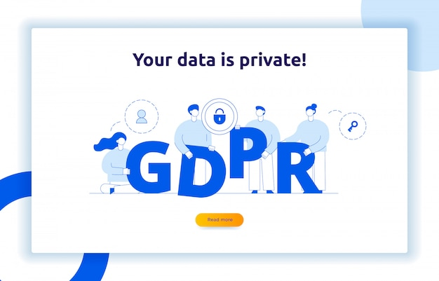 Gdpr concept illustration with big modern people