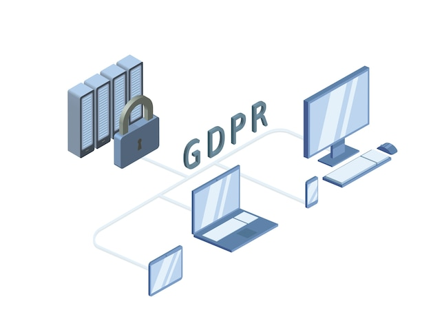 Gdpr 개념 아이소 메트릭 그림. 일반 데이터 보호 규정. 개인 데이터 보호. , 흰색 배경에 고립.