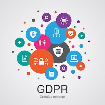 Gdprコンセプトテンプレート。モダンなデザインスタイル。データ、e-プライバシー、合意、保護などのアイコンが含まれています