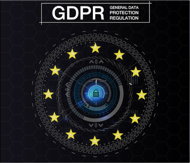 Gdpr-general data protection regulation。サイバーセキュリティとプライバシー。図。未来のスタイル。