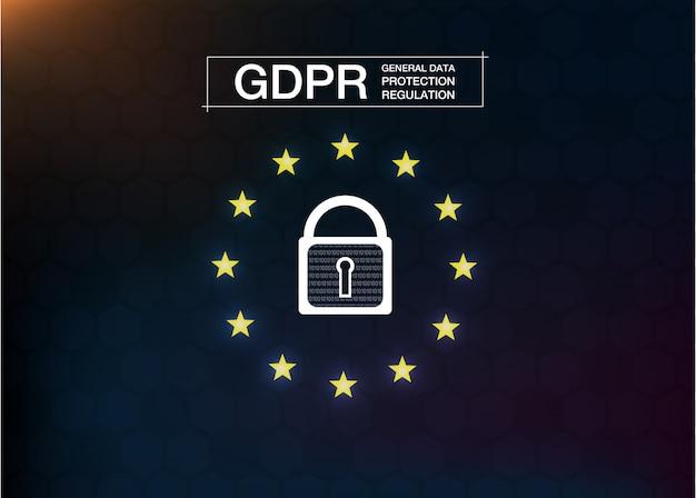Gdpr- 일반 데이터 보호 규정. 사이버 보안 및 개인 정보. 삽화. 미래의 스타일.