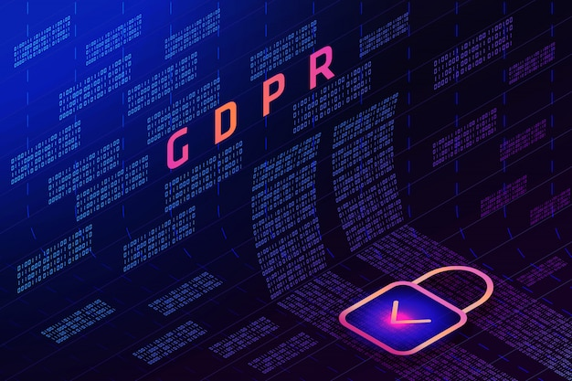Gdpr - general data protection regulation, lock, matrix
