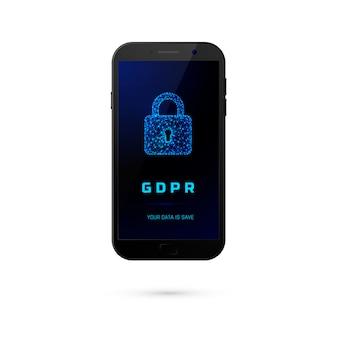 Gdpr-一般的なデータ保護セキュリティ。白い背景の上の画面に南京錠で電話をかけます。図