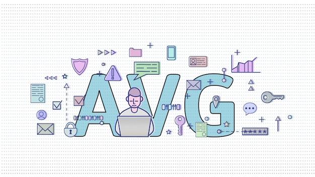 オランダのgdpr。 algemeneの驚異的なgegevensbescherming。後ろに大きなavg文字があるインターネットおよびメディアシンボルの中でコンピューターユーザー。 gdpr、avg、dsgvo。図。水平。