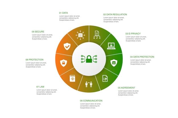 Gdprインフォグラフィック10ステップサークルdesign.data、e-プライバシー、合意、保護シンプルなアイコン