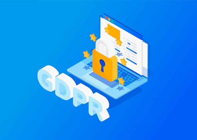 Gdpr isometric concept. protection of personal data.