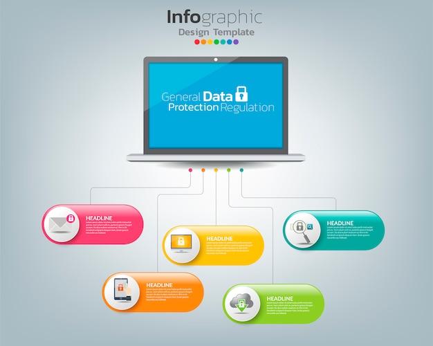 Инфографический шаблон общего регулирования защиты данных (gdpr) на labtop с иконками